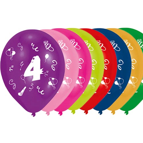 Age 4 Two-Sided Print Assorted Latex Balloons 25cm / 10 in - Pack of 8 Product Image