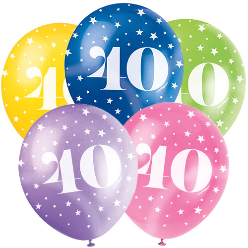 Age 40 Biodegradable Assorted Latex Balloons 30cm / 12 in - Pack of 5 Product Image