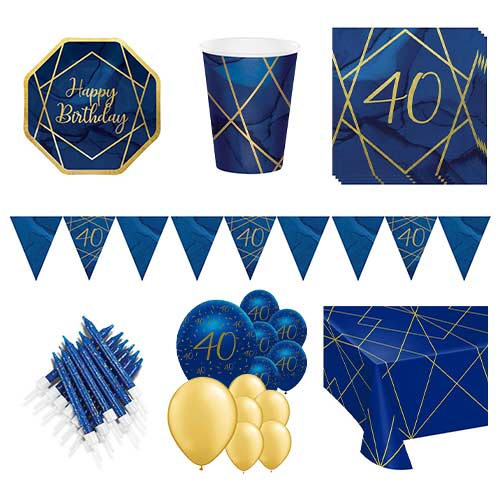 Age 40 Navy & Gold Geode 16 Person Deluxe Party Pack