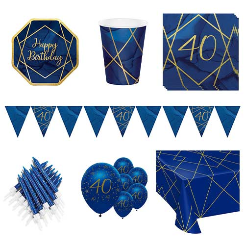 Age 40 Navy & Gold Geode 8 Person Deluxe Party Pack Product Image