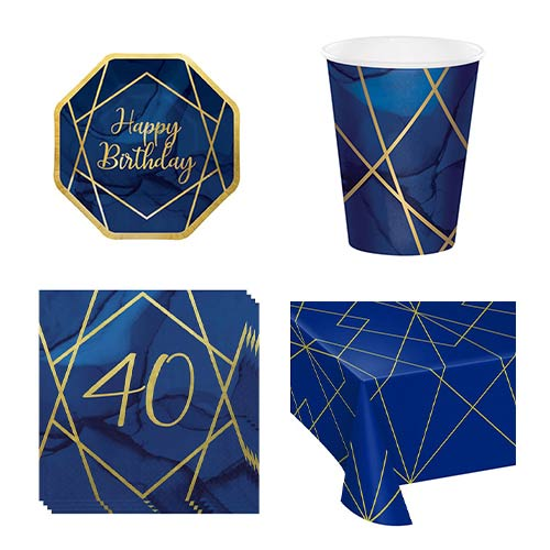 Age 40 Navy & Gold Geode 8 Person Value Party Pack Product Image