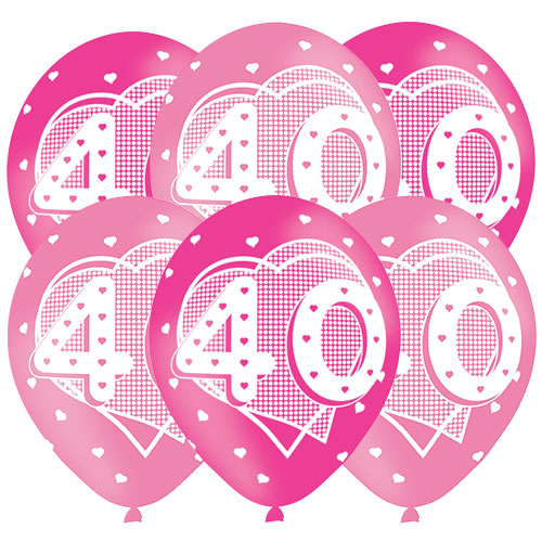 Age 40 Pink Latex Balloons 28cm / 11 in - Pack of 6