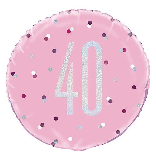 Pink Glitz Age 40 Holographic Round Foil Helium Balloon 46cm / 18 in