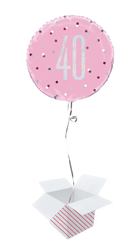 Pink Glitz Age 40 Holographic Round Foil Helium Balloon - Inflated Balloon in a Box
