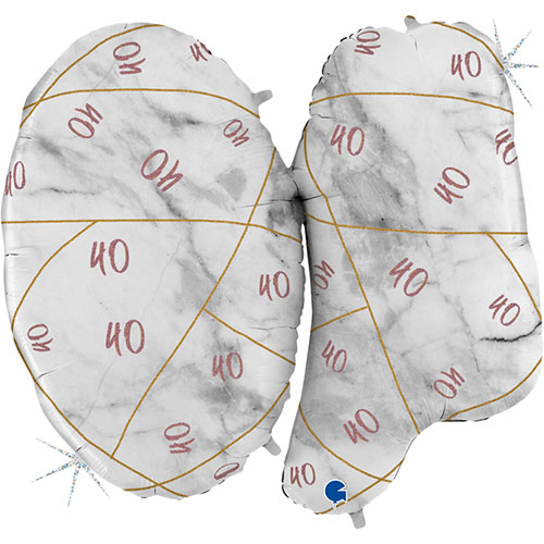Age 40 Rose Gold Marble Mate Holographic Helium Foil Giant Balloon 102cm / 40 in Product Gallery Image