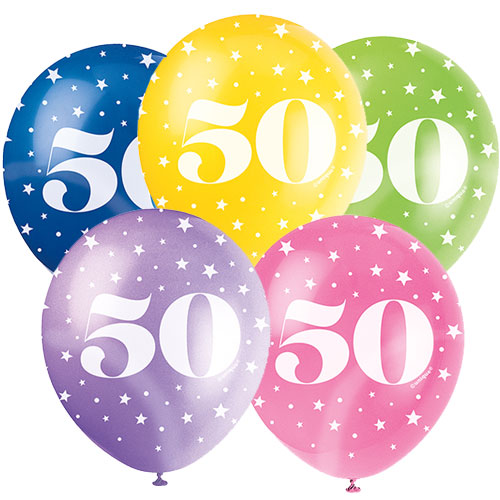 Age 50 Assorted Biodegradable Latex Balloons 30cm / 12Inch - Pack of 5
