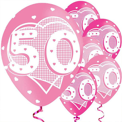 Age 50 Pink Assorted Latex Balloons 28cm / 11 in - Pack of 6