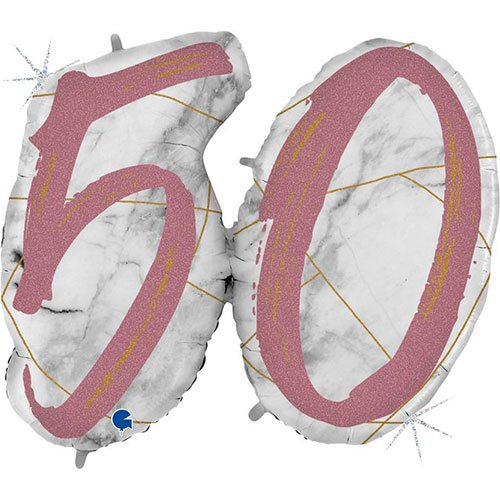 Age 50 Rose Gold Marble Mate Holographic Helium Foil Giant Balloon 104cm / 41 in