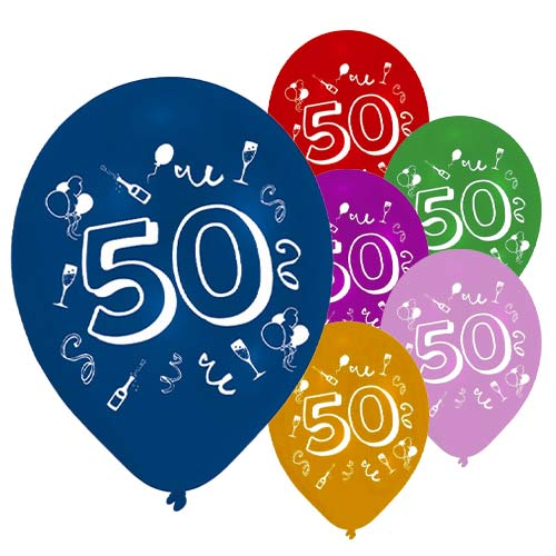 Age 50 Two-Sided Print Assorted Latex Balloons 25cm / 10 in - Pack of 8 Product Image