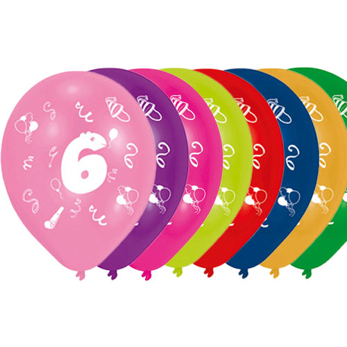 Age 6 Two-Sided Print Assorted Latex Balloons 25cm / 10 in - Pack of 8