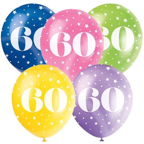 Age 60 Biodegradable Assorted Latex Balloons 30cm / 12 in - Pack of 5 Product Image