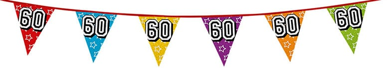 Age 60 Holographic Foil Pennant Bunting 8m