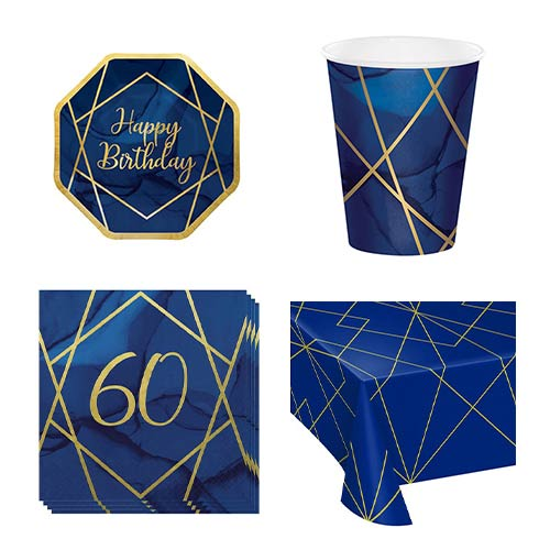 Age 60 Navy & Gold Geode 8 Person Value Party Pack Product Image