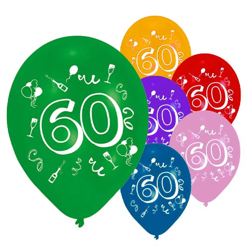 Age 60 Two-Sided Print Assorted Latex Balloons 25cm / 10 in - Pack of 8 Product Image
