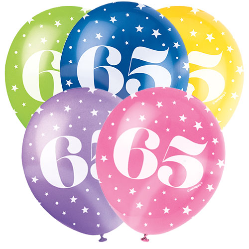Age 65 Biodegradable Assorted Latex Balloons 30cm / 12 in - Pack of 5