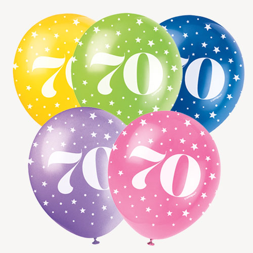 Age 70 Biodegradable Assorted Latex Balloons 30cm / 12 in - Pack of 5