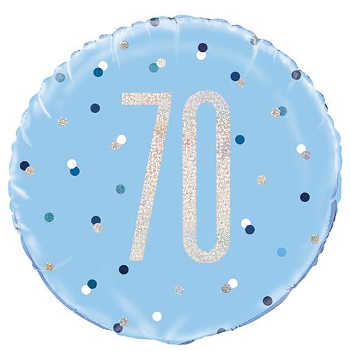 Blue Glitz Age 70 Holographic Round Foil Helium Balloon 46cm / 18 in