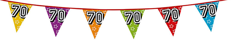 Age 70 Holographic Foil Pennant Bunting 8m