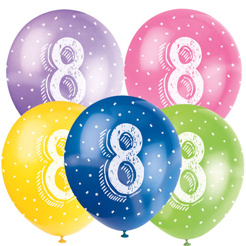 Age 8 Biodegradable Assorted Latex Balloons 30cm / 12 in - Pack of 5 Product Image