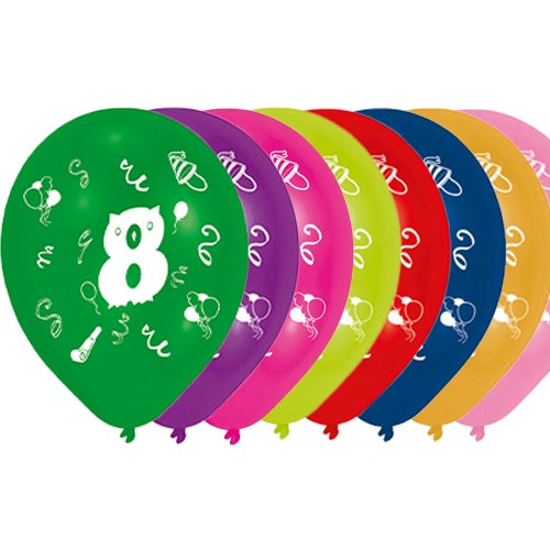 Age 8 Two-Sided Print Assorted Latex Balloons 25cm / 10 in - Pack of 8 Product Image