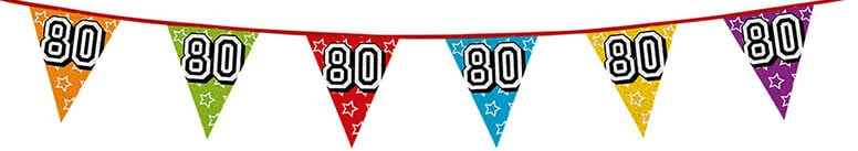 Age 80 Holographic Foil Pennant Bunting 8m