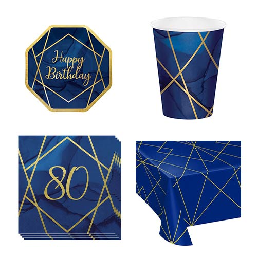 Age 80 Navy & Gold Geode 8 Person Value Party Pack
