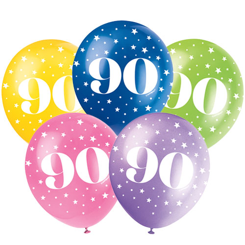 Age 90 Biodegradable Assorted Latex Balloons 30cm / 12Inch - Pack of 5