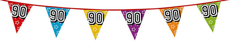 Age 90 Holographic Foil Pennant Bunting 8m Product Image
