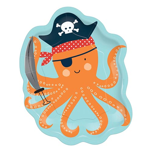 Ahoy Birthday Pirate Octopus Shaped Paper Plates 23cm - Pack of 8