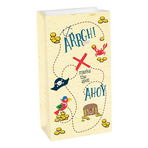 Ahoy Birthday Pirate Paper Party Treat Bags - Pack of 8