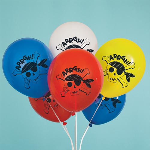 Ahoy Pirate Assorted Latex Balloons 30cm / 12 in - Pack of 8