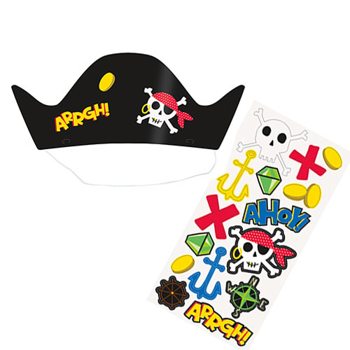 Ahoy Pirate Customisable Party Hats - Pack of 8