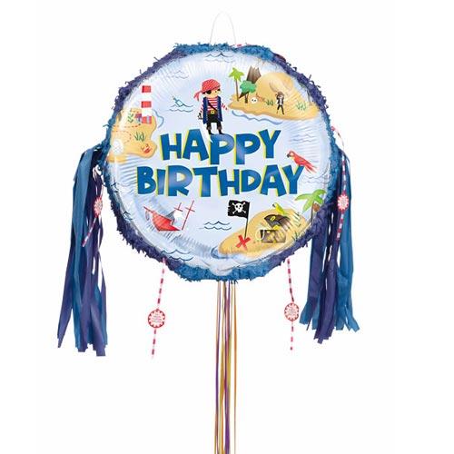 Ahoy Pirate Happy Birthday Pull String Pinata