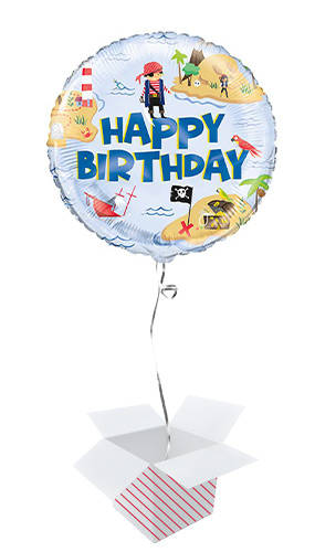 Ahoy Pirate Happy Birthday Round Foil Helium Balloon - Inflated Balloon in a Box
