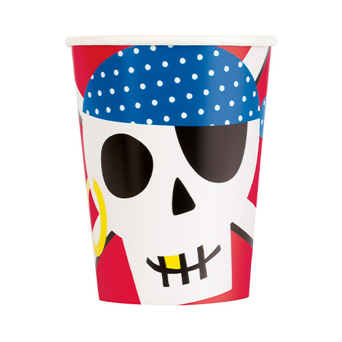 Ahoy Pirate Paper Cups 270ml - Pack of 8 Product Image