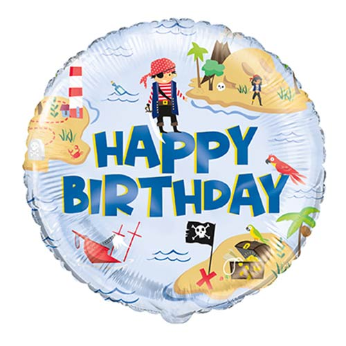 Ahoy Pirate Happy Birthday Round Foil Helium Balloon 46cm / 18 in Product Image