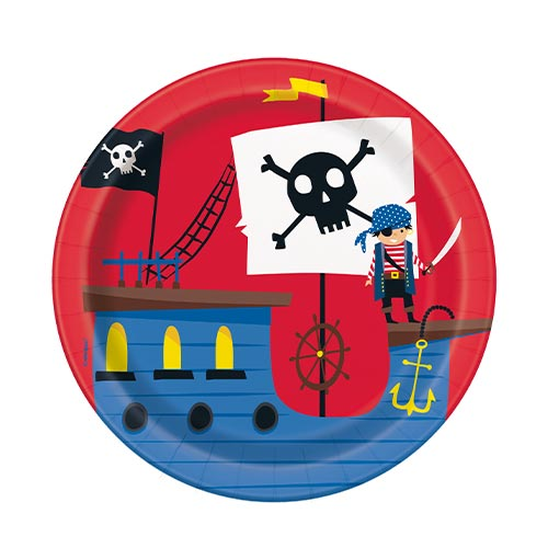 Ahoy Pirate Round Paper Plates 17cm - Pack of 8