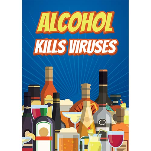 Alcohol Kills Viruses Adult A3 Poster PVC Party Sign Decoration 42cm x 30cm Product Gallery Image