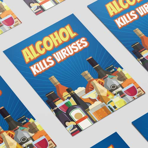 Alcohol Kills Viruses Adult A3 Poster PVC Party Sign Decoration 42cm x 30cm Product Image