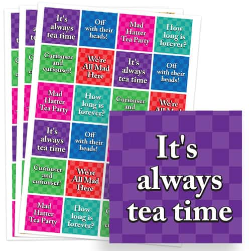 Alice In Wonderland 40mm Square Sticker Sheet of 24 Product Image
