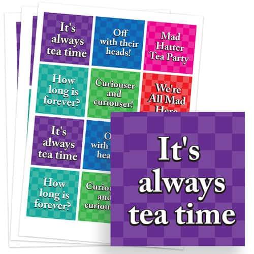 Alice In Wonderland 65mm Square Sticker Sheet of 12