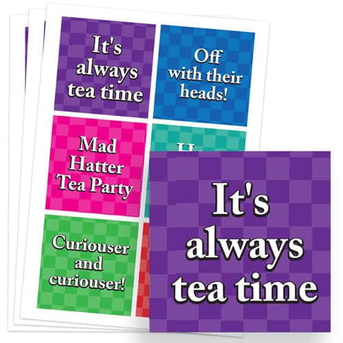 Alice In Wonderland 80mm Square Sticker Sheet of 6 Product Image