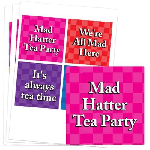 Alice In Wonderland 95mm Square Sticker Sheet of 4