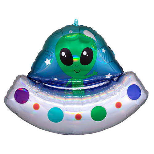 Alien Spaceship Holographic Iridescent Helium Foil Giant Balloon 71cm / 28 in Product Image