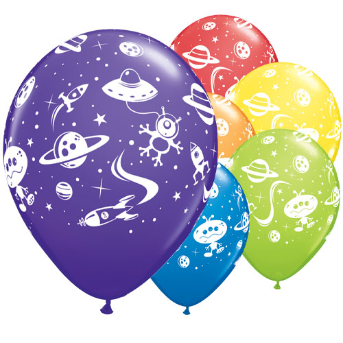 Aliens & Space Ships Assorted Latex Helium Qualatex Balloons 28cm / 11 in - Pack of 25 Product Image