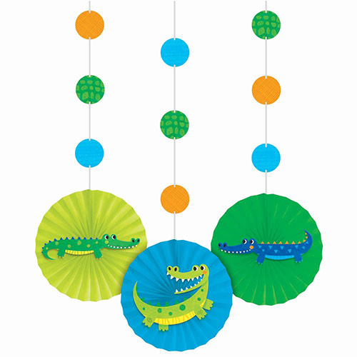Alligator Party Paper Fans Hanging Decorations - Pack of 3 Product Image