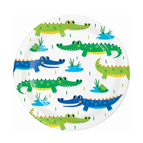 Alligator Party Round Paper Plates 18cm - Pack of 8
