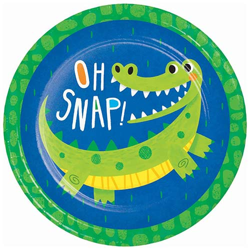 Alligator Party Round Paper Plates 22cm - Pack of 8 Bundle Product Image