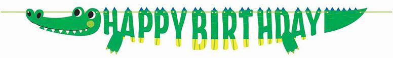 Alligator Party Shaped Happy Birthday Cardboard Banner 184cm