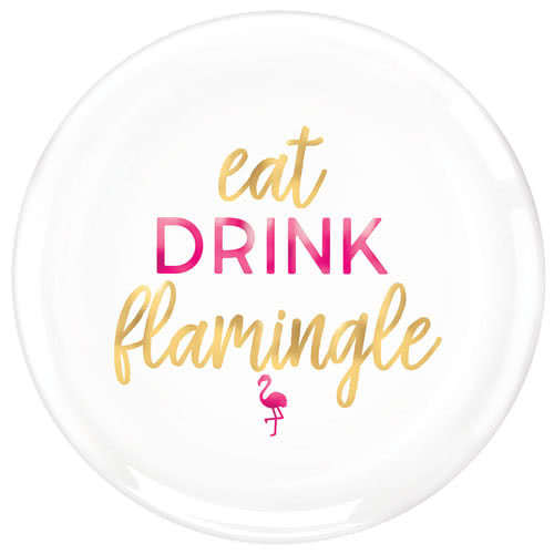 Aloha Summer Foil Hot Stamped Flamingo Round Serving Plastic Platter 35cm Product Image